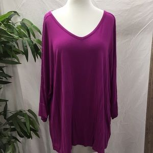 Apt 9 V Neck Top With Rhinestones On Batwing arms